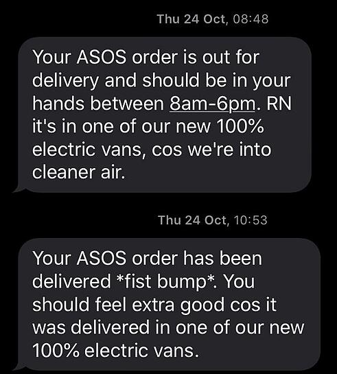 asos message example
